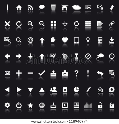 Set of white navigation web icons on black background