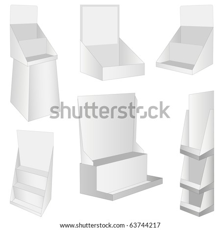 set of 6 white new display. vector illustration