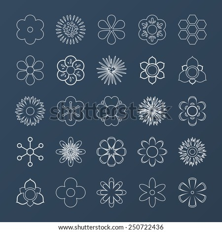 Set of white outline vector silhouettes of flowers #250722436