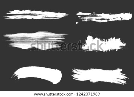 Set of white paint, ink brush strokes. brush strokes isolated on background.vector brush strokes collection