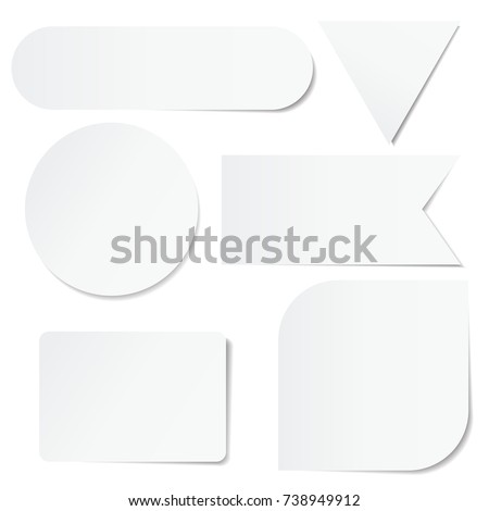 Set of white paper stickers of different shapes on white background. Round, square, rectangular, triangular.