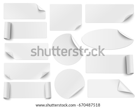 Set of white paper stickers of different shapes with curled corners isolated on white background. Round, oval, square, rectangular shapes. Vector illustration. Template paper design.