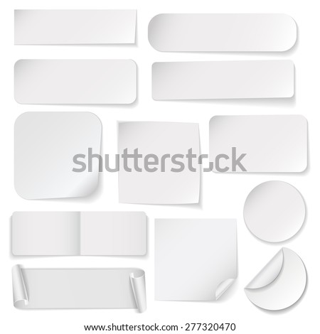 Set of white paper stickers on white background #277320470