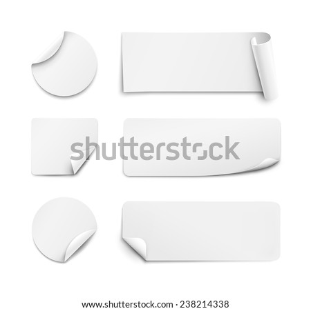 Set of white paper stickers on white background. Round, square, rectangular. Vector illustration