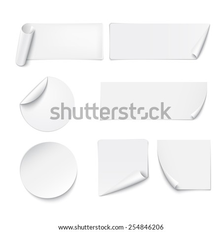 Set of white paper stickers on white background. Vector illustration #254846206