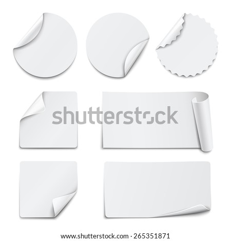 Set of white paper stickers on white background. Vector illustration #265351871