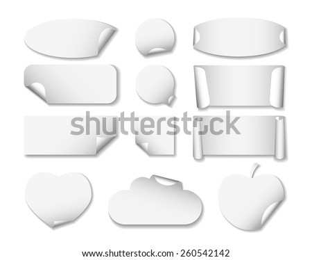 set 2 of white paper stickers