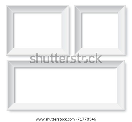 set of white photo frames