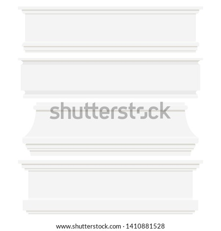 Set of white plastic or wood baseboards isolated on white background. Architectural elements for interior wall design. Vector flat style illustration. Moldings of various shapes collection.