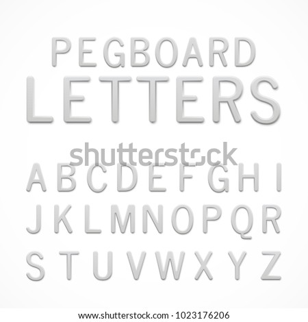 Set of white plastic pegboard letters. ABC letters isolated on white background. Plastic model-kit alphabet. Pegboard letters for your project. Stock photo ©