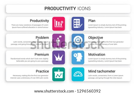 Set of 8 white productivity icons such as Productivity, Problem, Premium, Practice, Plan, Objective isolated on colorful background