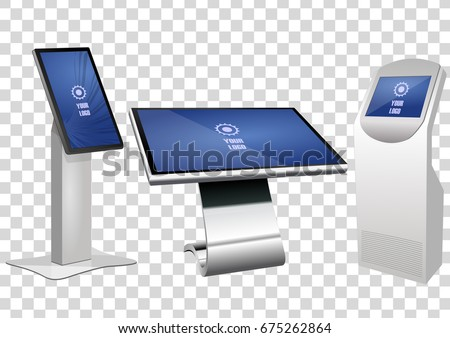 Set of White Promotional Interactive Information Kiosk, Advertising Display, Terminal Stand, Touch Screen Display isolated on transparent background. Mock Up Template.