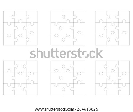 Set of white puzzles, vector  illustration