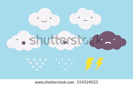 set of white rainy  snowy  dark