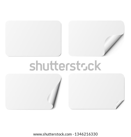 Set of white rectangle adhesive stickers with a folded edges, isolated on white background. #1346216330