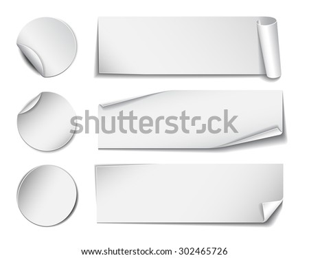 Set of white rectangular and round promotional paper stickers on white background. Vector illustration #302465726