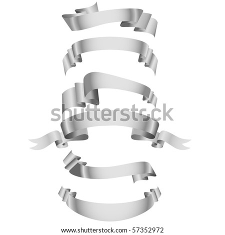 Set of white ribbons.Vector illustration.