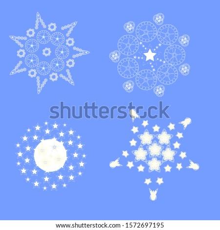 set of white snowflakes for