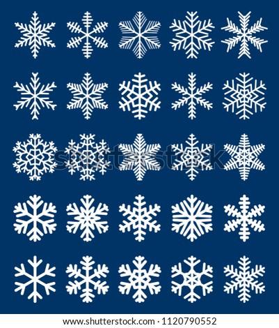 set of white snowflakes on blue