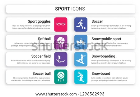 Set of 8 white sport icons such as Sport Goggles, softball, Soccer field, ball, Soccer, Snowmobile isolated on colorful background
