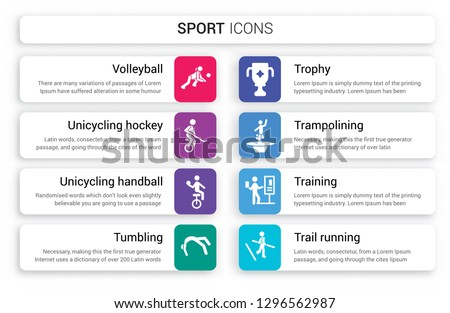 Set of 8 white sport icons such as Volleyball, unicycling hockey, handball, tumbling, Trophy, trampolining isolated on colorful background