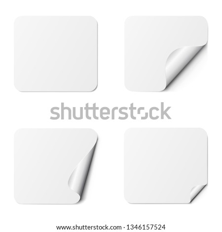 Set of white square adhesive stickers with a folded edges, isolated on white background. #1346157524