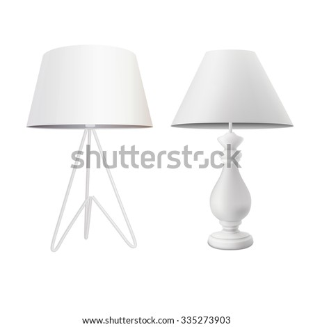 set of white table lamps
