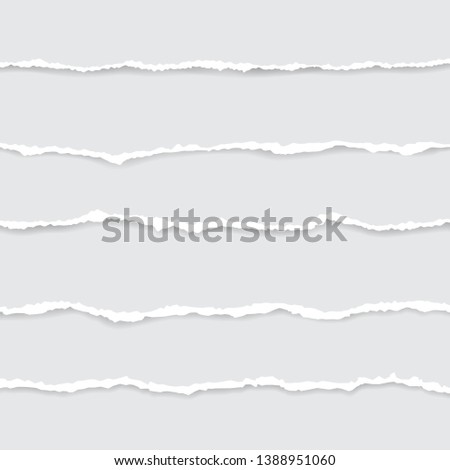 set of white torn paper. vector illustration with shadows