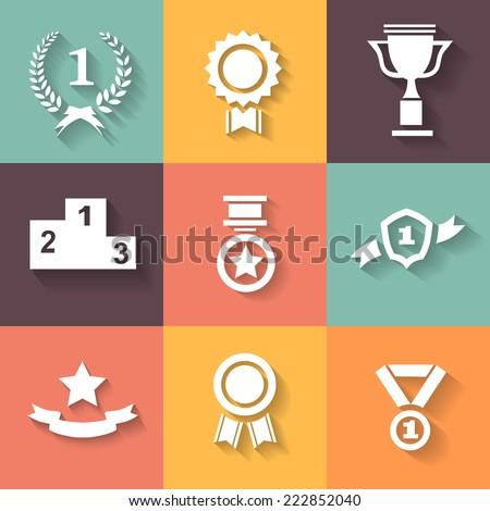 set of white vector award