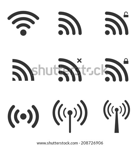 set of wi fi and wireless icons