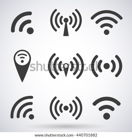 Set of WI-FI icons and wireless connection airwaves isolated on a white background, vector illustration for web design