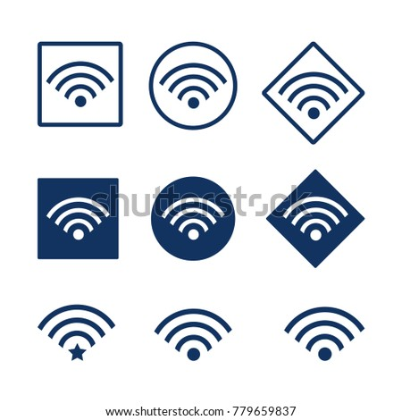 Set of wifii icons, stock illustration