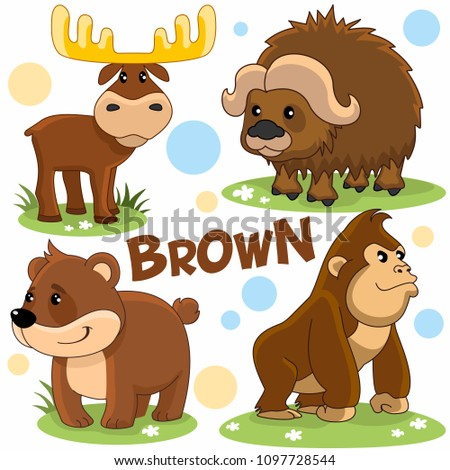 Set of wild animals brown for children and design. Image of bear characters, chimpanzee, moose and yak.