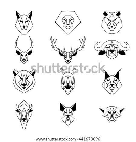 set of wild animals in a linear