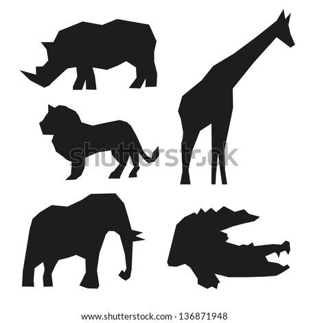 set of wild animals  isolated