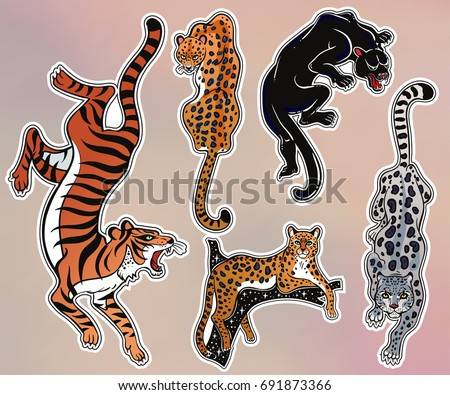 Set of wild Cat designs. Classic flash tattoo style patches or elements. Traditional stickers, comic pins. Pop art items. Vector collection, stikers kit. Tiger, Panther, Snow Leopard, Cheetah, Puma.