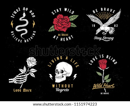 set of wild love theme vector
