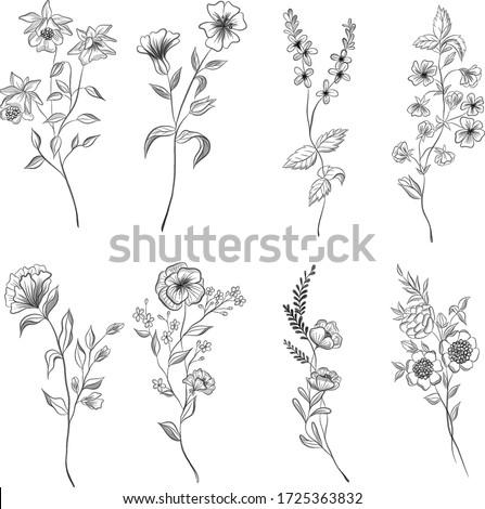 set of wildflowers in  tattoo