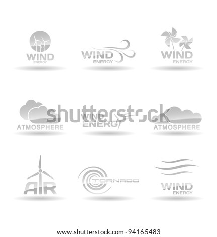 Set of wind energy icons.