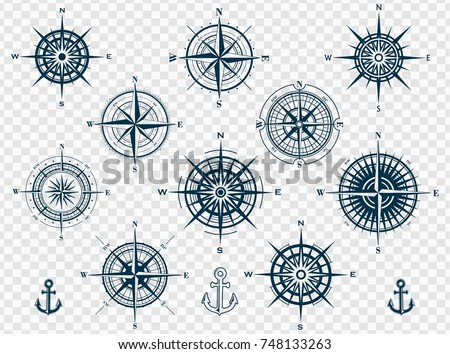 Set of wind roses silhouettes isolated on transparent background. Compass vector illustrations