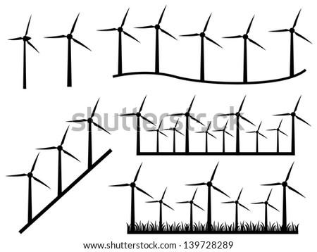 set of windmills illustrated on