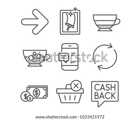Set of Window cleaning, Smartphone notification and Full rotation icons. Dollar money, Americano and Cold coffee signs. Delete purchase, Next and Money transfer symbols. Vector