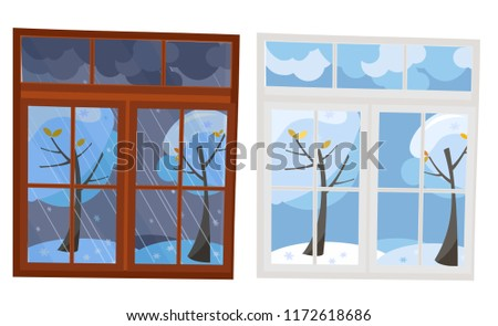 set of 2 windows in flat style