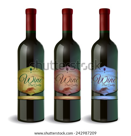 Set of Wine bottle with label. Wine and grapes