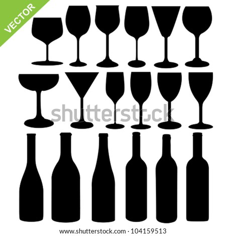 Set of wine bottles and glass silhouette vector