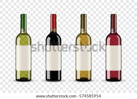 Set of wine bottles isolated on transparent background