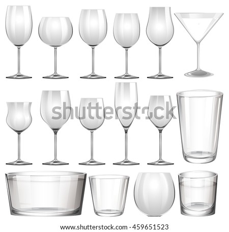 Set of wine glasses and cups illustration
