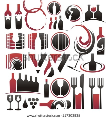 Set of wine icons, symbols, signs and design elements