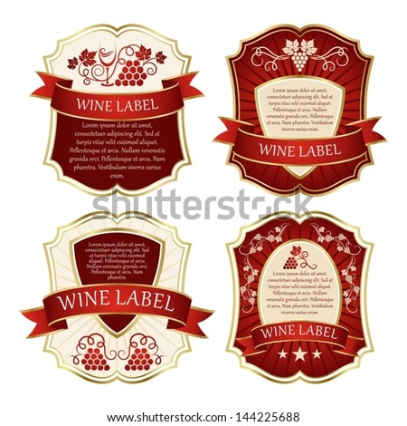 set of wine label