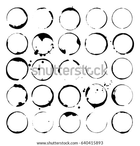 Set of wine or coffee stains. Ink spots and splatters. Vector silhouettes.